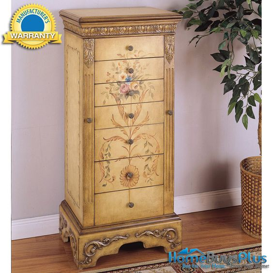 Powell Antique Parchment Hand Painted Jewelry Armoire Chest