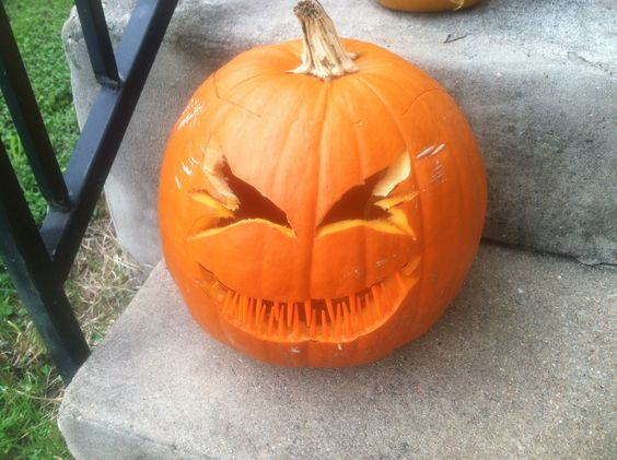 Pumpkin with plastic fork tips as teeth