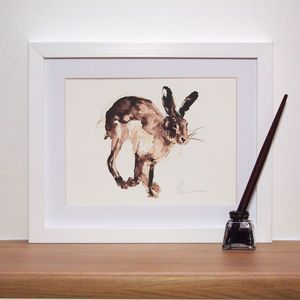 Running Hare Print And Original - contemporary art. Please please please can I have a hare of my own?