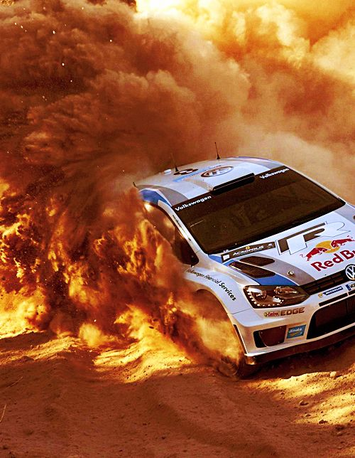 Sebastien Ogier in his VW Polo R WRC during WRC 2013 (which he won)