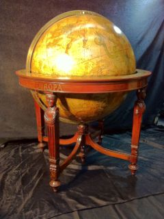 CELESTIAL GLOBE, W. AND A.K JOHNSTON, EDINBUGH, LABEL LITHOGRAPHED ON GLOBE, SCOTLAND, LARGE SCALE LATE 19TH CENTURY 30 INCH DIAMETER GLOBE, 24 GORES WITH CONSTELLATIONS, BRASS PLATED ARMATURE, REEDED MAHOGANY STAND MARKED WITH CONTINENTS, 46HX38W, DATED 1872, APPRAISED AT $12,000
