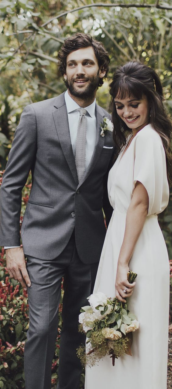 Grey Suit groom's look by @theblacksuit #theblacktux #theblacktuxwedding