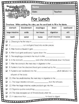 Magic School Bus For Lunch Video Guide Sub Plan Worksheets
