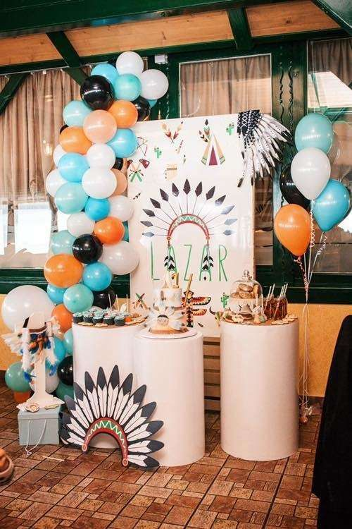 Loving The Dessert Table At This Tribal 1st Birthday Party See More Party Ideas And Share Y Indian Birthday Parties Tribal Birthday Party Boho Birthday Party