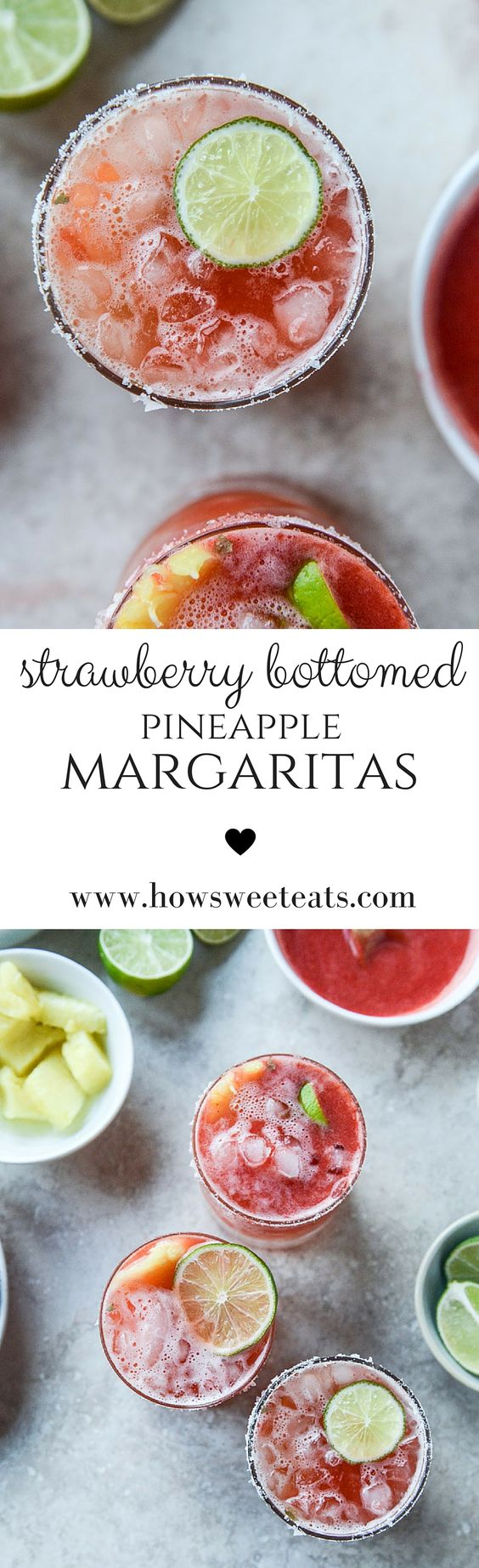 Strawberry Bottomed Pineapple Margaritas by @howsweeteats I howsweeteats.com