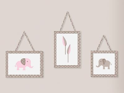 3 Piece Pink and Taupe Mod Elephant Wall Hanging Set