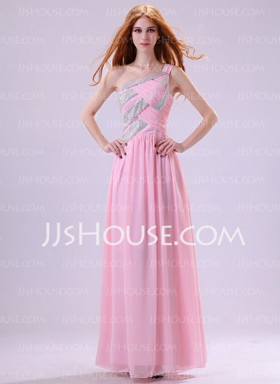 Evening Dresses - $133.99 - A-Line/Princess One-Shoulder Floor-Length Chiffon Charmeuse Evening Dresses With Ruffle Lace (017014384) http://jjshouse.com/A-line-Princess-One-shoulder-Floor-length-Chiffon-Charmeuse-Evening-Dresses-With-Ruffle-Lace-017014384-g14384