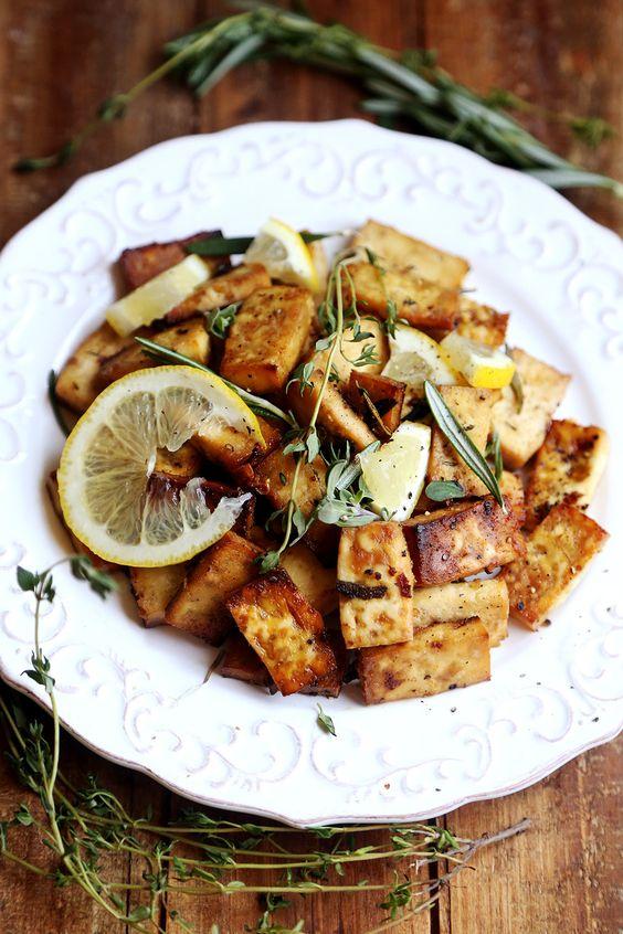 Lemon Herb Baked Tofu (Divine Healthy Food) | Baked tofu, Pure maple ...