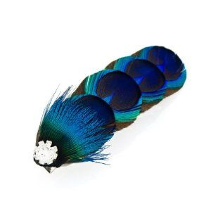 Crystalmood Peacock Feather Hair Clip with Rhinestones $22.70