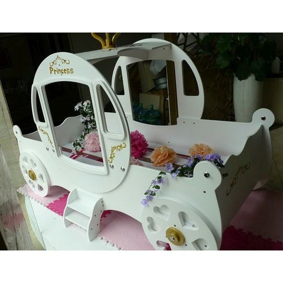 Single Princess Carriage Girls Kid's Bed in White | Buy Kids Single Beds