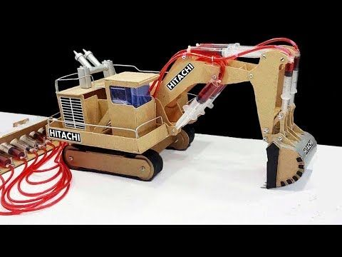 How to Make JCB (Hitachi) Remote Control Hydraulic Excavator(Crane) From  Hardboard 'at Home DIY - YouTub… | Diy hydraulic toys, Hydraulic excavator,  Kid toy storage