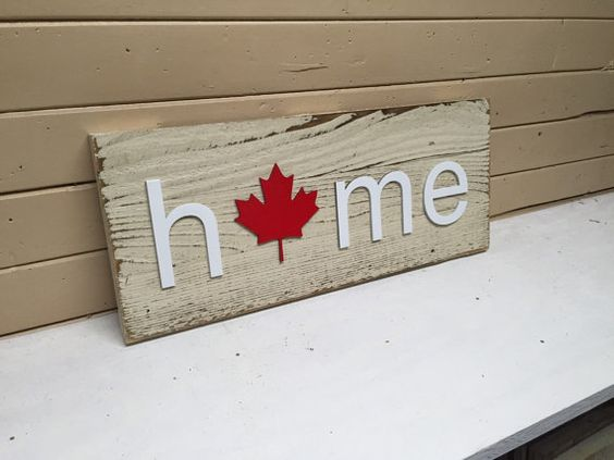 This unique Canada plaque measures approximately 7 1/2 x 18 and hangs with one saw tooth hanger. This is made with rough sawn lumber, wooden letters