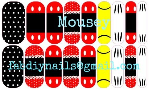 Mousey.  A Mickey Mouse inspired vinyl nail wraps