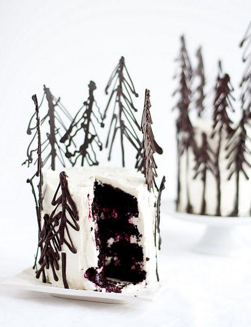Chocolate cake with chocolate pine trees decoration