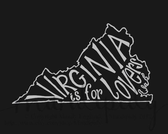 Virginia is for Lovers - Black Background - 8x10 Illustrated Print by Mandipidy