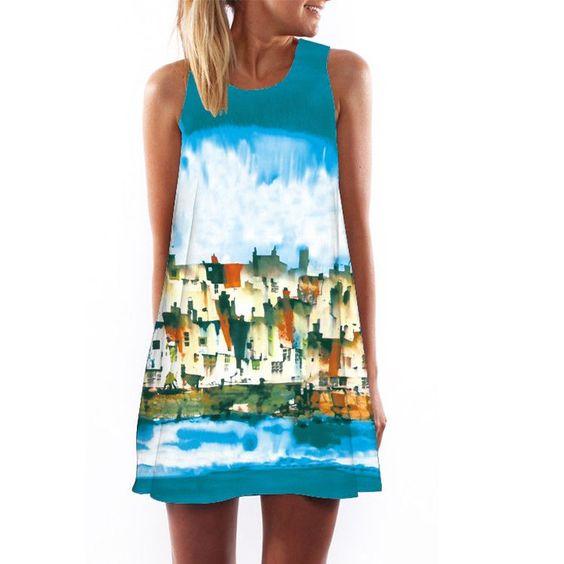 2016 Women Dress 3D Print Vintage Hippie Summer Beach Dress Dashiki Loose Plus Size Women Clothing