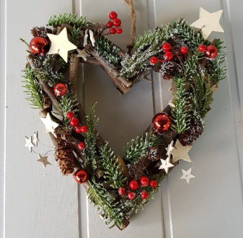 Red Berry And Wooden Stars Woodland Heart Door Wreath Scandinavian Boutique Hyggestyle Co Uk Heart Door Wreath Wooden Stars Door Wreaths