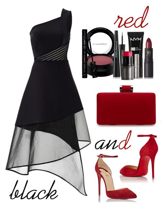 """""""red and black"""" by shizandgiggles ❤ liked on Polyvore featuring David Koma, MAC Cosmetics, Christian Louboutin, Lipstick Queen, NYX, Dolce&Gabbana, Burberry, blackdress, redandblack and blackandred"""