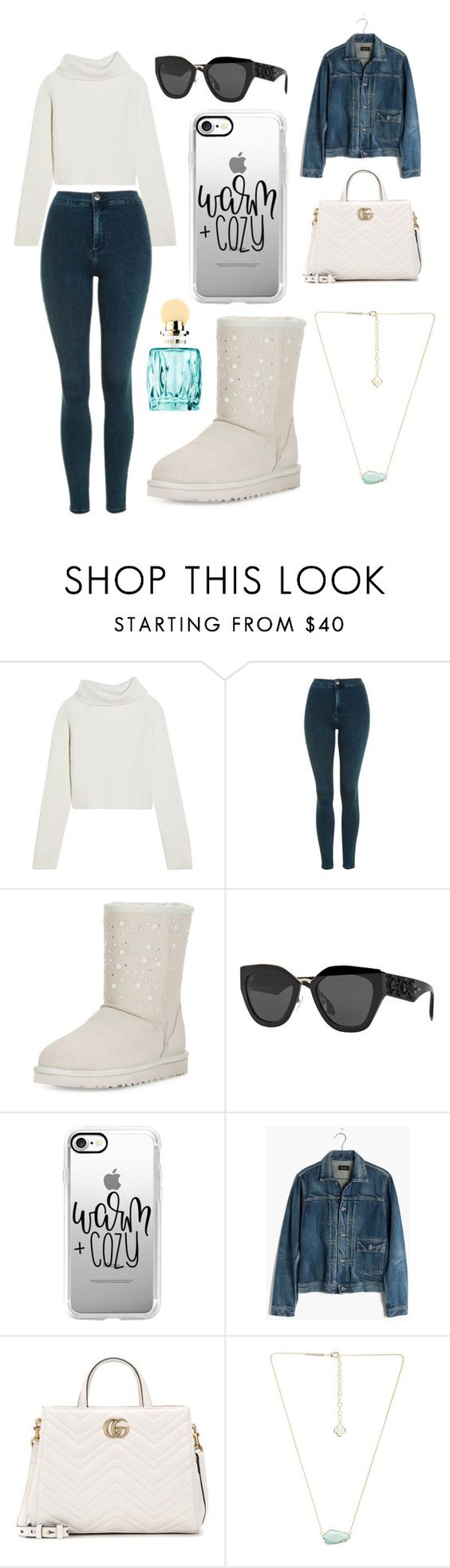 """Sans titre #3349"" by merveille67120 ❤ liked on Polyvore featuring Haider Ackermann, Topshop, UGG, Prada, Casetify, Madewell, Gucci, Kendra Scott and Miu Miu"