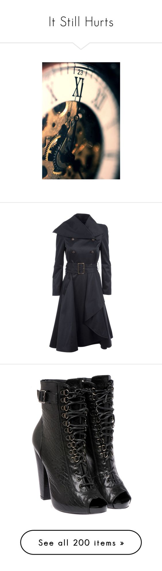 """""""It Still Hurts"""" by amber-daylight ❤ liked on Polyvore featuring outerwear, coats, jackets, dresses, casacos, coats & jackets, women, waterfall trench coat, double breasted coat and waterfall coat"""