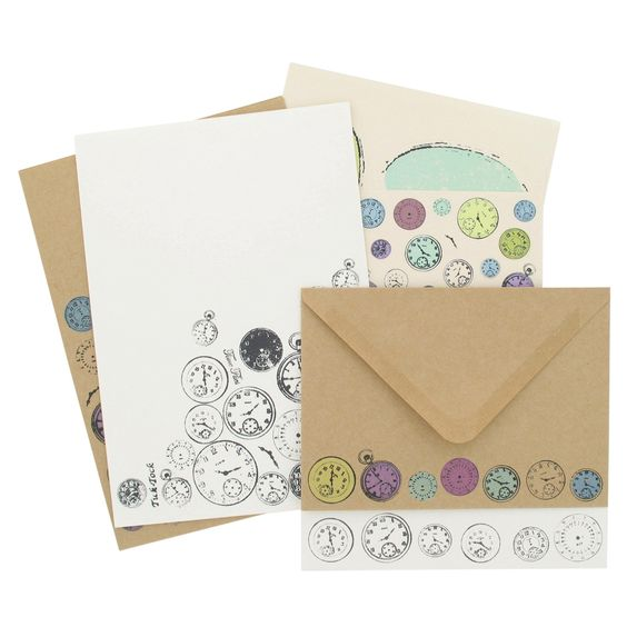 Writing set with white, cream and Kraft paper and envelopes featuring time pieces design from Paperchase.  #stationery #vintage