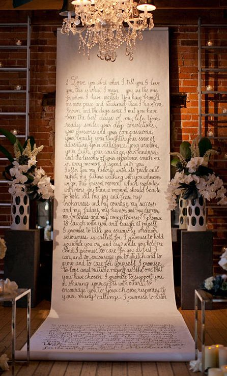 Handwritten aisle runner/backdrop - what a beautiful idea! Include your vows or other special sentiments. @Laura Jayson Hooper