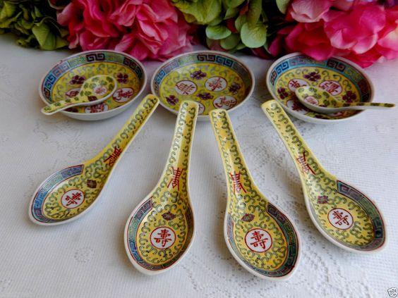 6 Jiangxi Jingdezhen Min Ci Chinese Porcelain Spoons ~ 3 Bowls