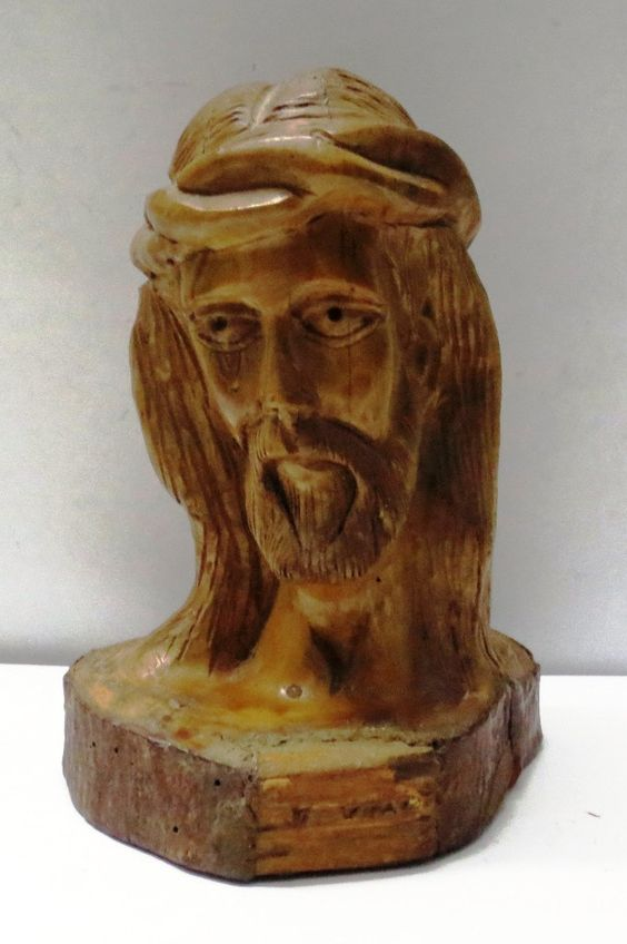 Vintage hand carved wooden religious home decor jesus