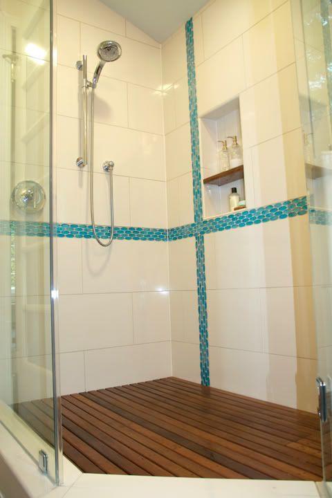 Showers floors and shower floor on pinterest for Teak tiles bathroom