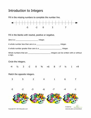 Worksheets: Introduction to Integers