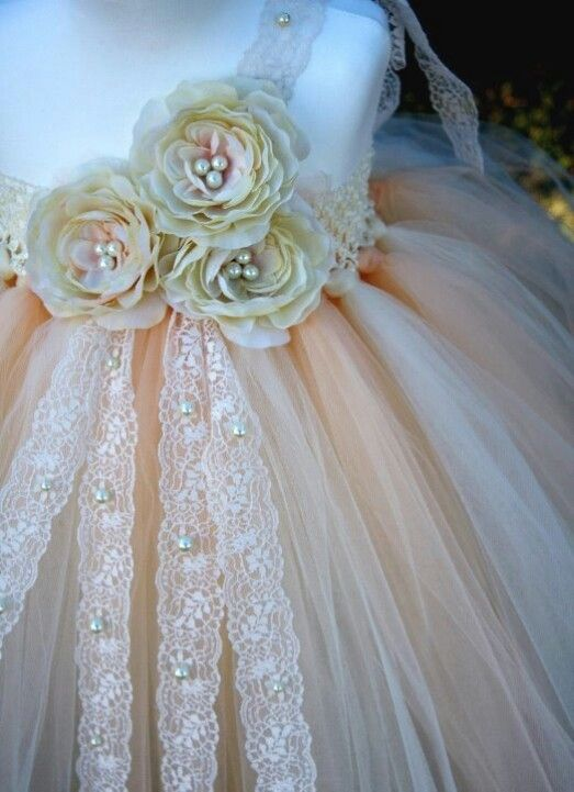 ❀ Fanciful Flower Girls ❀ dresses & hair accessories for the littlest wedding attendant :-) peach with rosettes