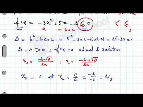Exercice Corrige Inequation De Second Degre 2eme Science Et Info Math Science Bullet Journal
