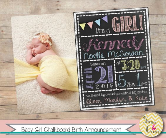 Baby girl birth announcement Printable Chalkboard baby – Scrabble Baby Announcement