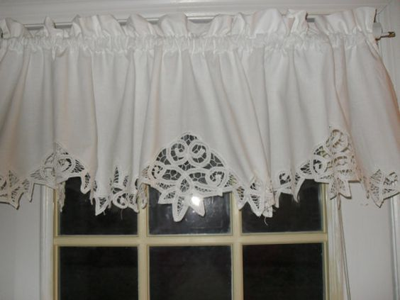 white shabby battenburg lace valance country curtain lace the o
