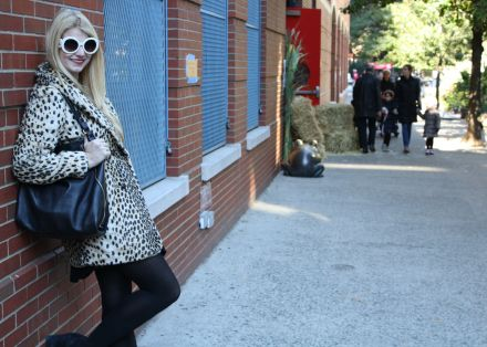 Leopard Coat, Tights, Jeffrey Campbell, Armani, Prada, Street Style, Tribeca, Outfit of the Day