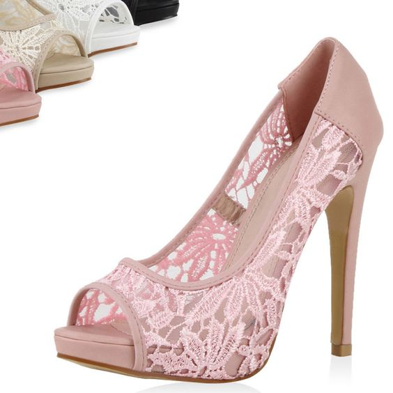 Details zu Damen Pumps Spitze High Heels Peep-Toes 71272 Stiletto