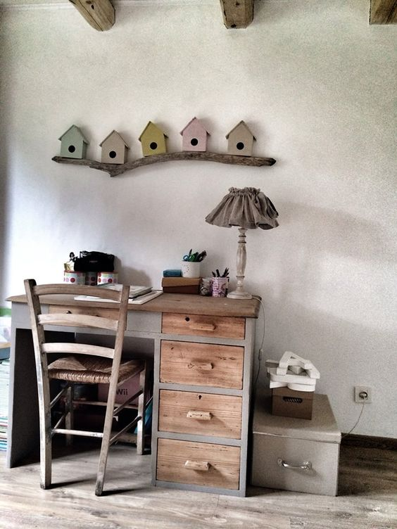 Le rang nature and diy bureau on pinterest for Deco nature creation bois flotte