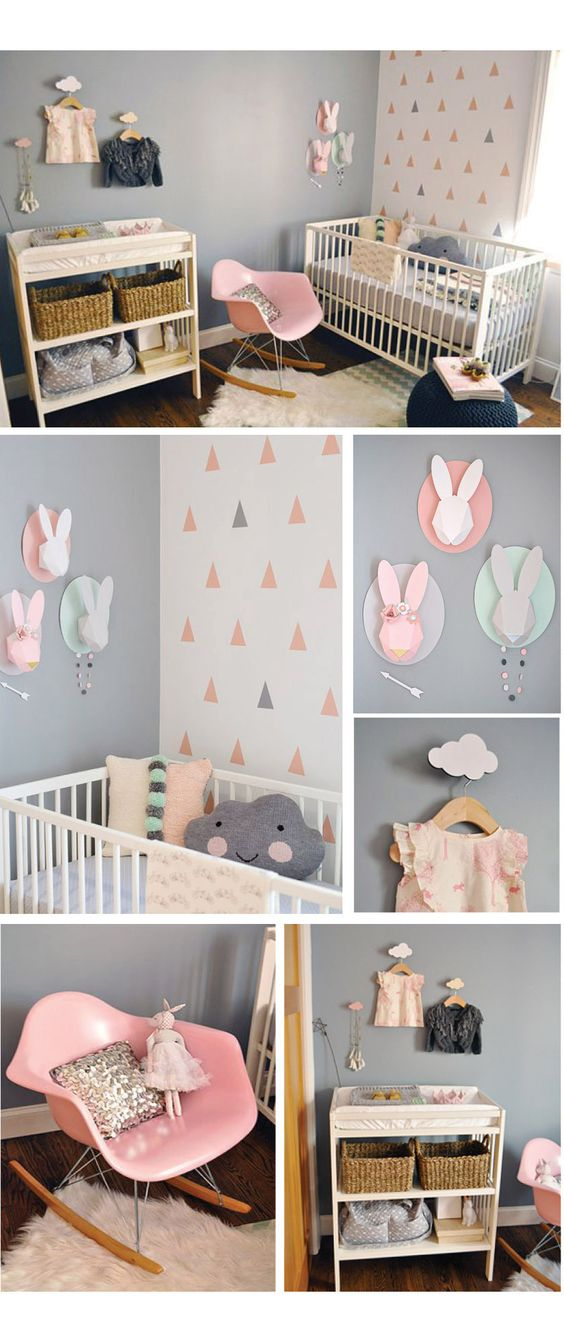 Décoration chambre petite fille. http://www.m-habitat.fr/par-pieces/chambre/preparer-une-chambre-pour-un-futur-bebe-3254_A