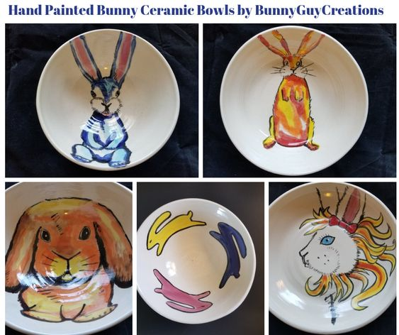 Hand Painted Bunny Ceramic Bowls by BunnyGuyCreations