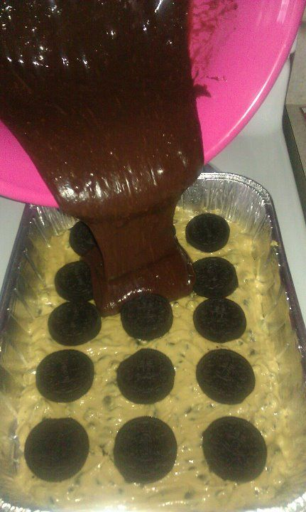 Everyone loved this! Brownie mix, poured over oreos, layered over chocolate chip cookie dough.