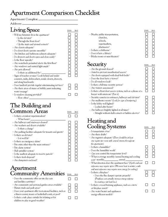 Apartment comparison checklist helpful hints pinterest for Apartment list