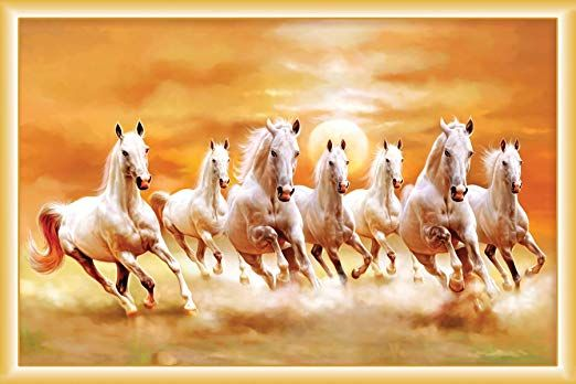 Father And Sons Vaastu 7 White Horses Running Wall Posters Paper 12x18 Inch Seven Horses Painting White Horse Painting Horse Wallpaper Full hd wallpaper 7 horse
