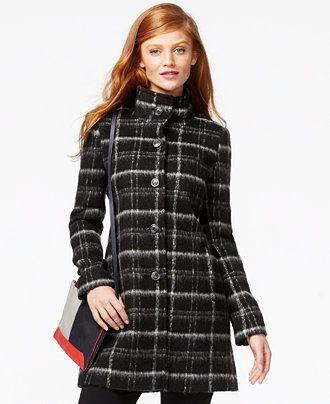 DKNY Plaid Walker Coat - Coats - Women - Macy's