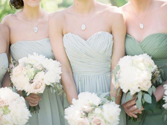 Wedding jade and maids on pinterest for Jade green wedding dresses
