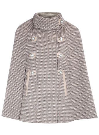 Taupe tweed piped cape!