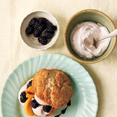 Peach and Blackberry Shortcakes with Blackberry Cream