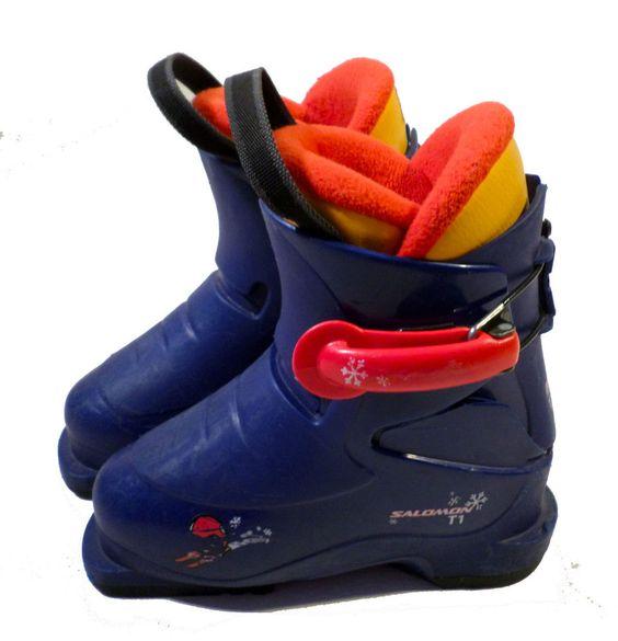Ret $199 SALOMON T1 Little Kid Youth Ski Boots, Mondo Size 18, Toddler Size 11.5