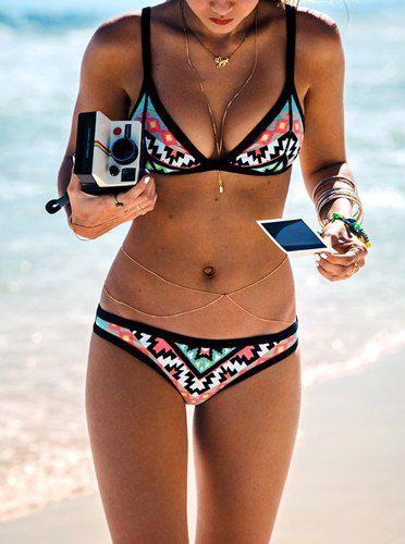Sexy Push Up Spaghetti Strap Geometric Bikini Set For Women
