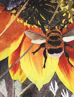 Amanda Richardson, detail 'Sunflowers and Grasses, textile print collage