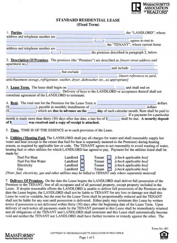 Realtor PDF lease Pinterest Massachusetts - lease agreement pdf